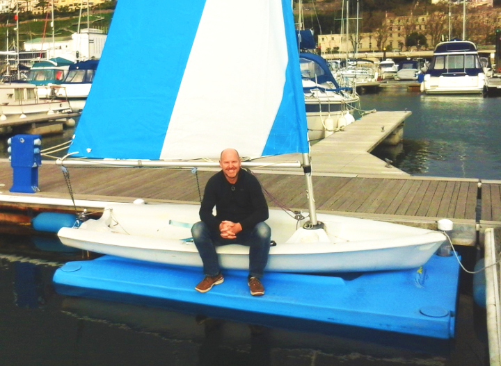 Dave Birch sitting on Pico saolboat