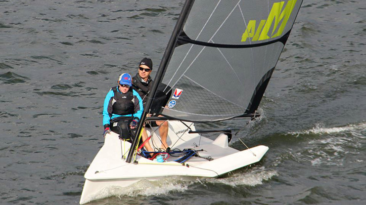 Steve and fiance sailing the M14 at Navy Fall Regatta